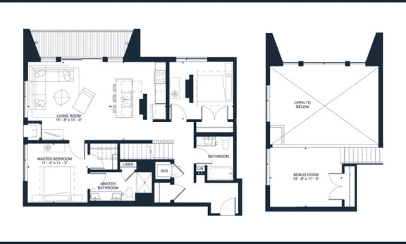 Cooke - 2 Bedroom & 2 Bathroom Floor Plan At Revel Apartments