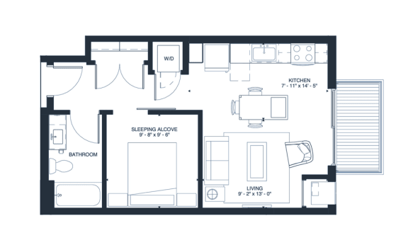 Crosby - Studio & 1 Bathroom Floor Plan At Revel Apartments