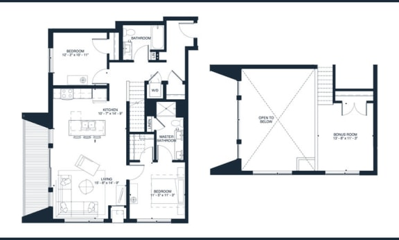 Elton - 2 Bedroom & 2 Bathroom Floor Plan At Revel Apartments