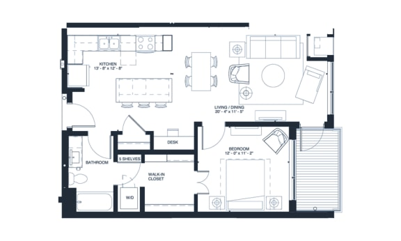 Joplin - 1 Bedroom & 1 Bathroom Floor Plan At Revel Apartments