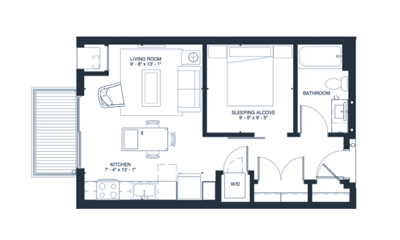 Lennon - Studio & 1 Bathroom Floor Plan At Revel Apartments