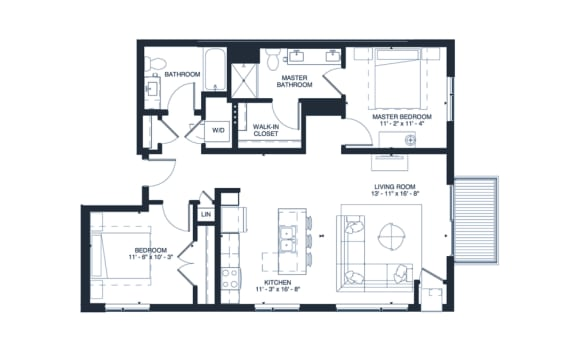 Morrison - 2 Bedroom & 2 Bathroom Floor Plan At Revel Apartments