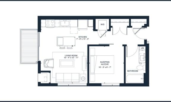 Presley - Studio & 1 Bathroom Floor Plan At Revel Apartments