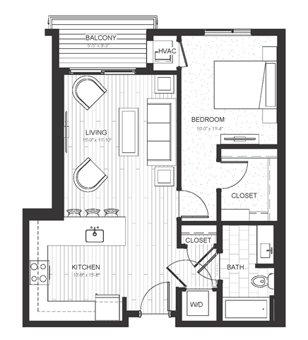 A1 - One Bedroom & One Bathroom Floor Plan At Boutique 28 Apartments In Minneapolis, MN