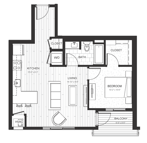 A2 - One Bedroom & One Bathroom Floor Plan At Boutique 28 Apartments In Minneapolis, MN