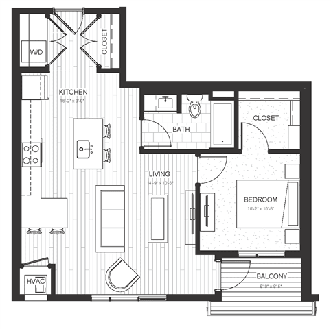 A3 - One Bedroom & One Bathroom Floor Plan At Boutique 28 Apartments In Minneapolis, MN