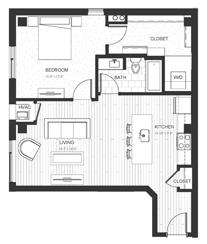 A4 - One Bedroom & One Bathroom Floor Plan At Boutique 28 Apartments In Minneapolis, MN