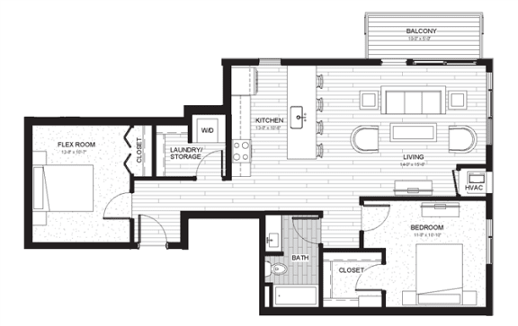 B4 - Two Bedroom & Two Bathroom Floor Plan At Boutique 28 Apartments In Minneapolis, MN