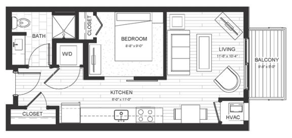 S1 - Studio & One Bathroom Floor Plan At Boutique 28 Apartments In Minneapolis, MN