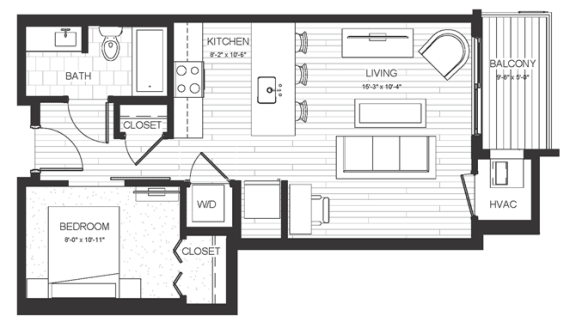 S2 - Studio & One Bathroom Floor Plan At Boutique 28 Apartments In Minneapolis, MN