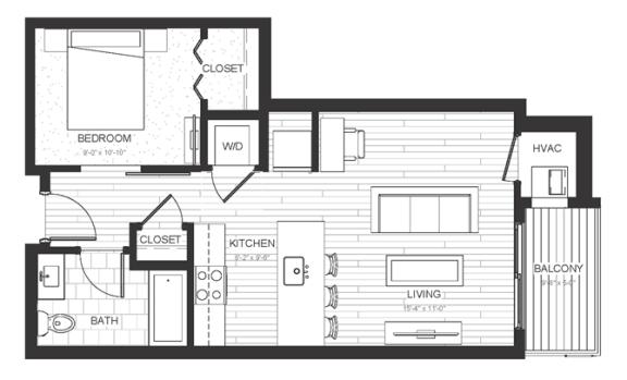 S3 - Studio & One Bathroom Floor Plan At Boutique 28 Apartments In Minneapolis, MN