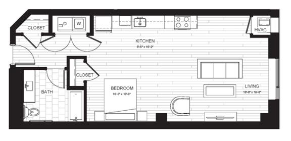 Studio & One Bathroom Floor Plan At Boutique 28 Apartments In Minneapolis, MN