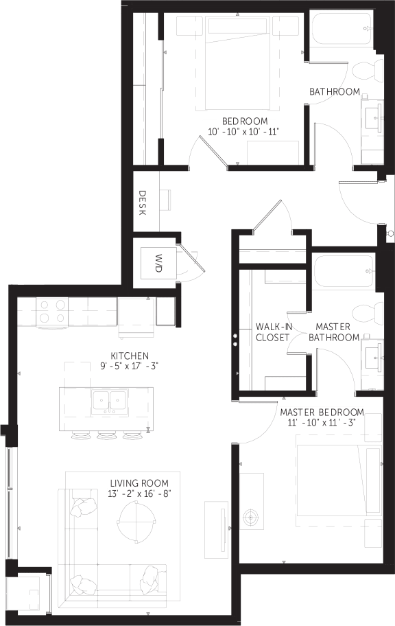 Parton - 2 Bedroom & 2 Bathroom Floor Plan At Revel Apartments