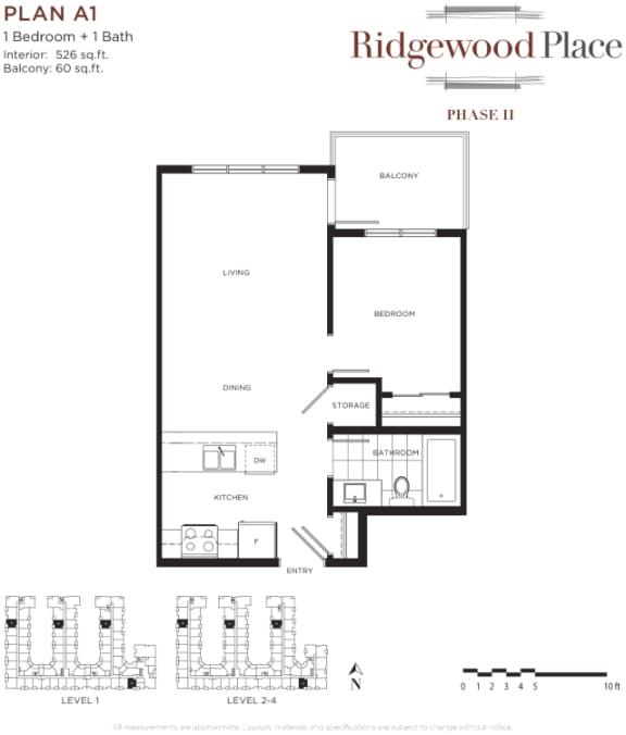 1 Bedroom 1 Bath Plan A1