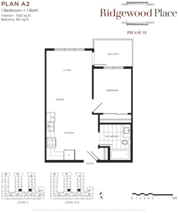 1 Bedroom 1 Bath Plan A2