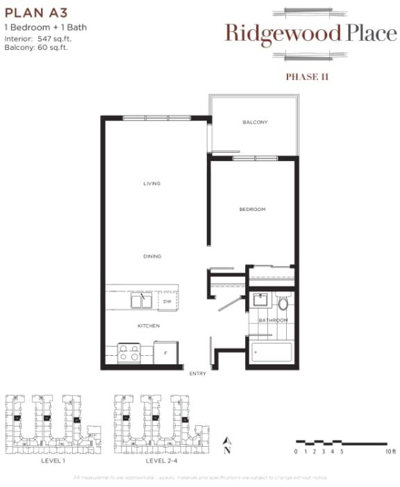 1 Bedroom 1 Bath Plan A3
