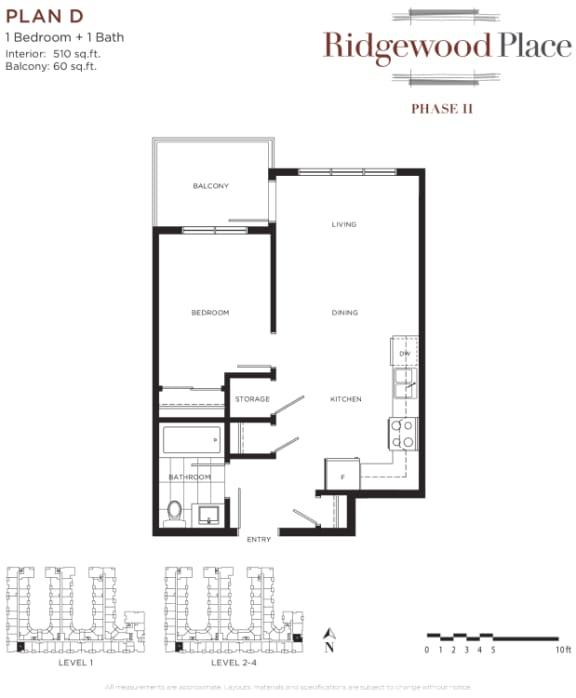 1 Bedroom 1 Bath Plan D