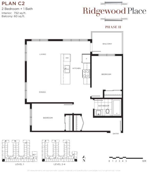 2 Bedroom 2 Bath Plan C2