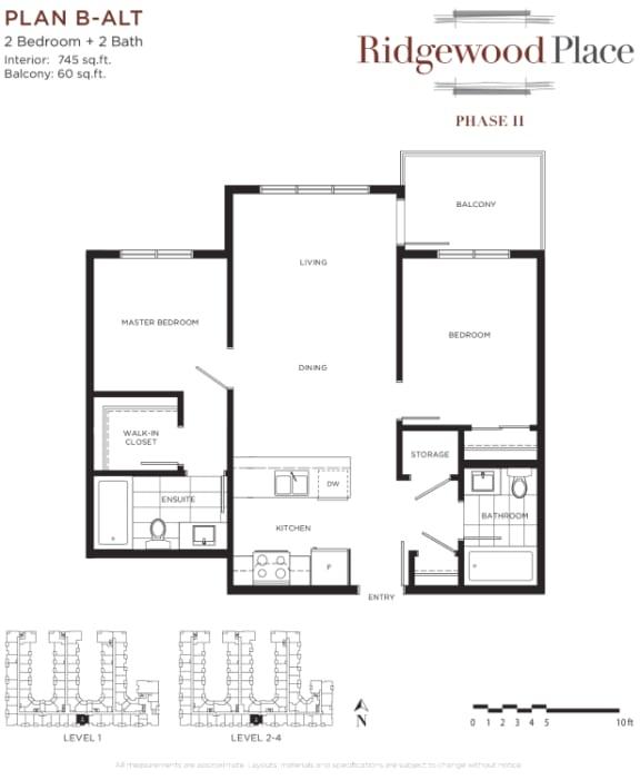 2 Bedroom 2 Bath Plan B-ALT