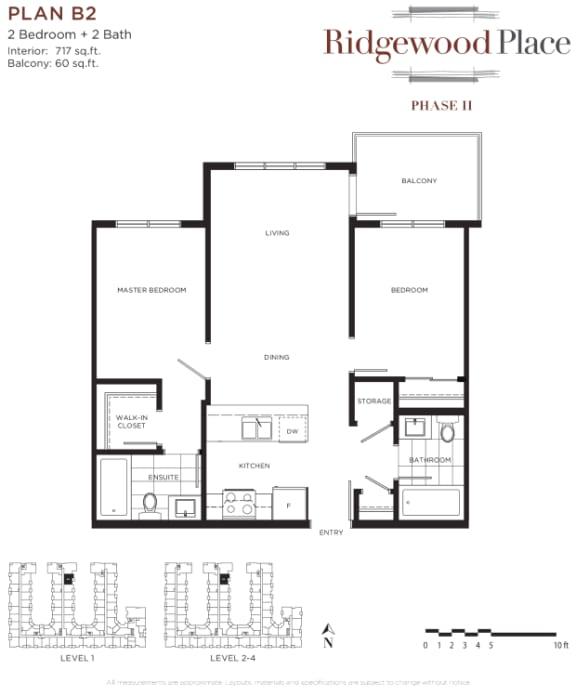 2 Bedroom 2 Bath Plan B2