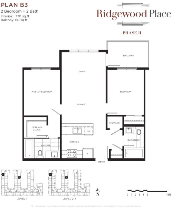 2 Bedroom 2 Bath Plan B3