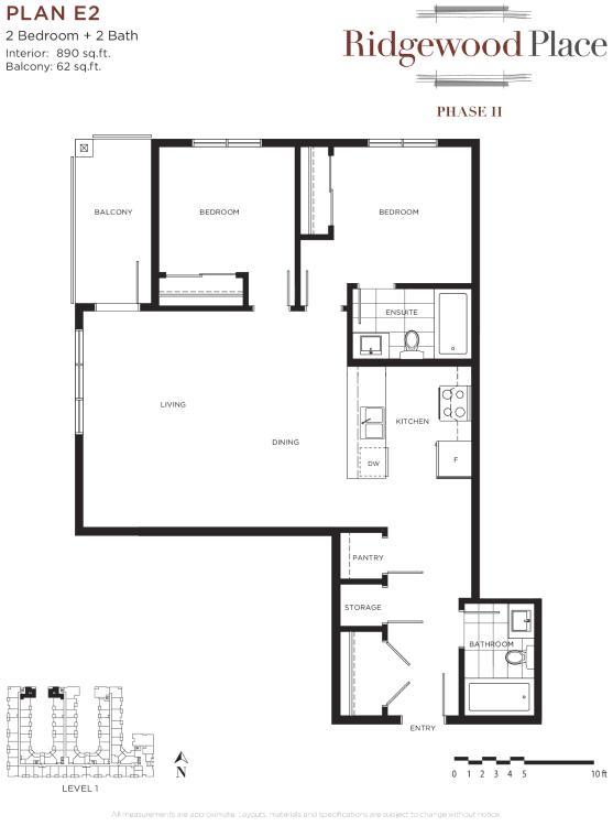 2 Bedroom 2 Bath Plan E2