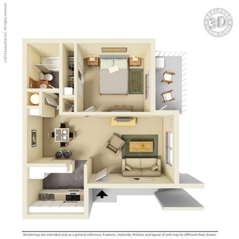 Floor Plan  1 Bedroom Floor Plan at Clayton Creek Apartments, California, 94521