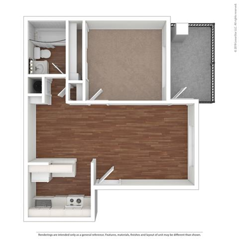 1 Bedroom 1 Bath Floor Plan at Clayton Creek Apartments, Concord