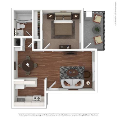 3D 1 bedroom floor plan at Clayton Creek Apartments, Concord, 94521