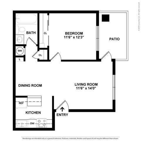 1 Bed 1 Bath Floor Plan at Clayton Creek Apartments, Concord, CA