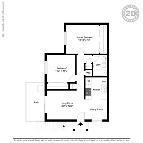 2 Bed 1 Bath Floorplan at Clayton Creek Apartments, Concord, 94521