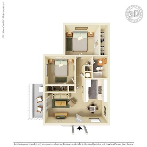 2 Bedroom 1 Bath Floor Plan at Clayton Creek Apartments, Concord, CA
