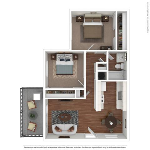 Filled Out Floor Plan at Clayton Creek Apartments, California, 94521