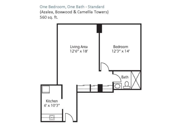 Floor Plan  One Bedroom, One Bath - Standard