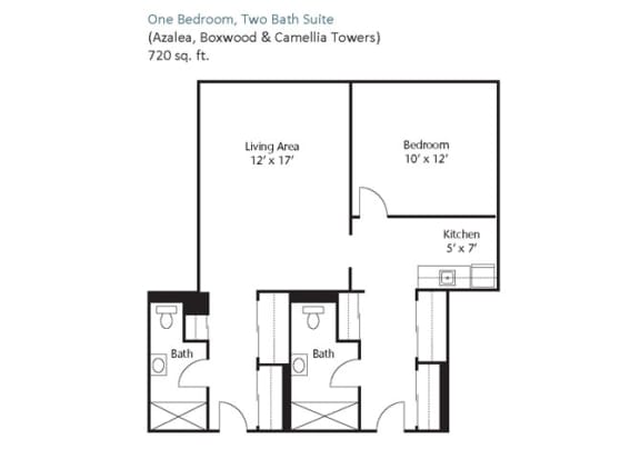 Floor Plan  One Bedroom, Two Bath Suite
