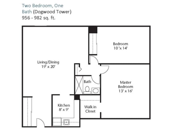 Floor Plan  Two Bedroom, One Bath