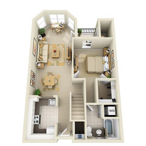Floor Plan  Mid 1BR 1BA Loft