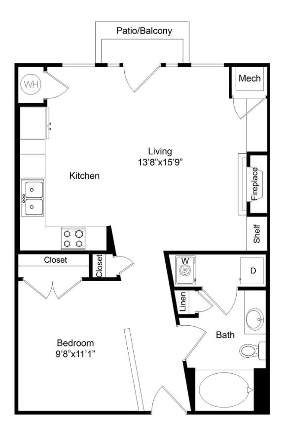 Floor Plan  California One Bedroom at City Gate