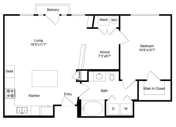 Floor Plan  City Gate Broadway one bedroom floor plan