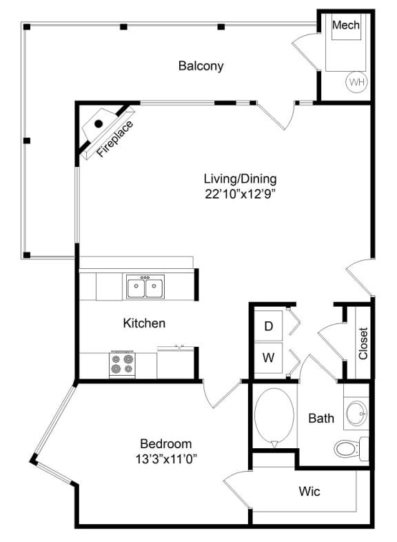 Floor Plan  City Gate Gates one bedroom floor plan
