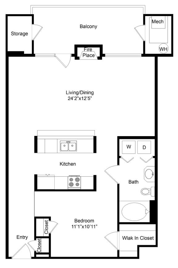 Floor Plan  City Gate Irondale floor plan with fireplace