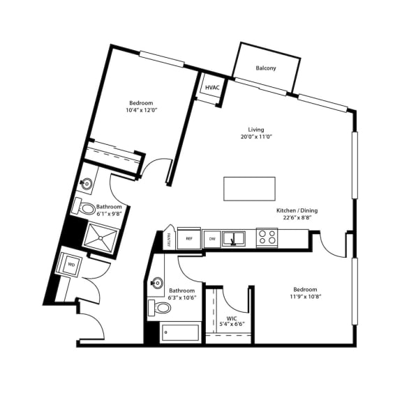 Dock Street Flats The Hennepin Floorplan
