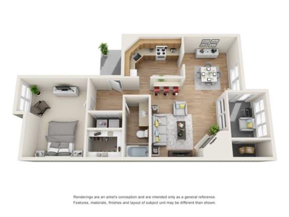 1 bed 1 bath floorplan, A1