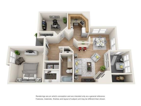 2 bed 1 bath floorplan, B1
