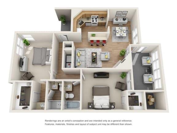 2 bed 2 bath Town Home floorplan, B8