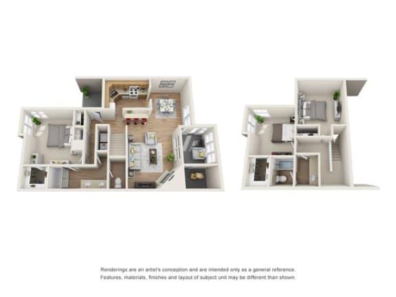 3 bed 2 bath Town Home floorplan, C2