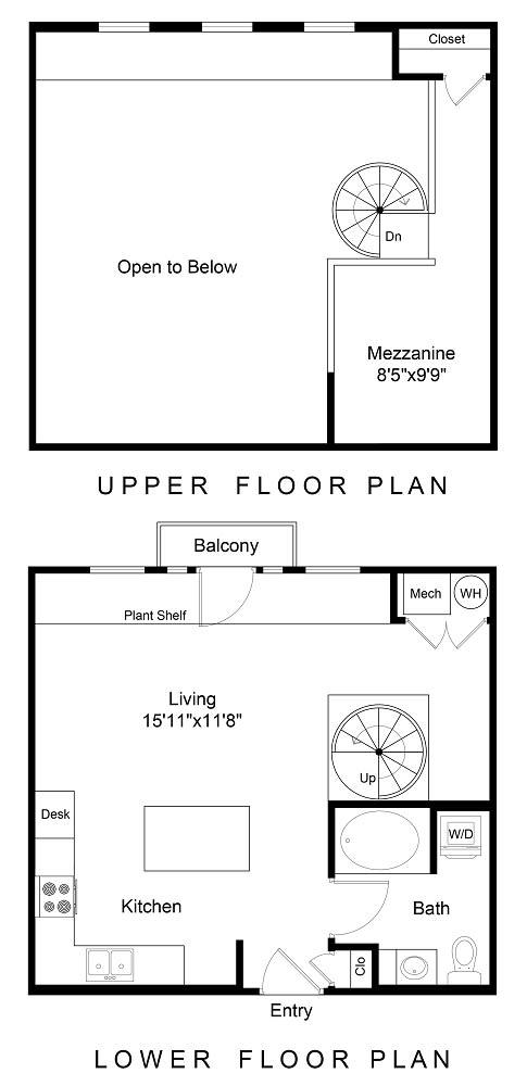 Floor Plan  City Gate Cherry Creek Lofts one bedroom floor plan