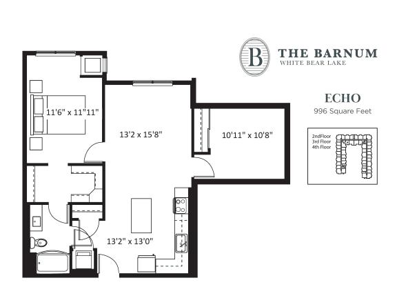 Floor Plan  Echo Floor Plan at The Barnum, Minnesota