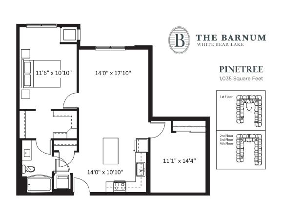 Floor Plan  Pinetree Floor Plan at The Barnum, Minnesota, 55110