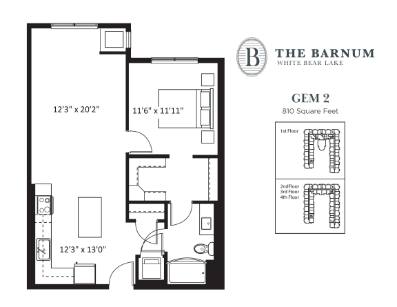 Gem Floor Plan at The Barnum, White Bear Lake